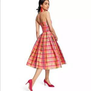 NWT ISAAC MIZRAHI FOR TARGET Plaid Silk Dress S